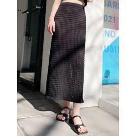 Crochetニットロングスカート (ブラック) 【セットアップ対応】