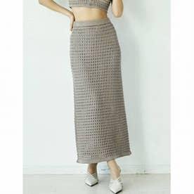Crochetニットロングスカート (ベージュ) 【セットアップ対応】