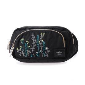 花刺繍ウエストポーチ (BLACK)