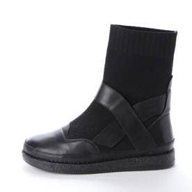 異素材コンビミドルブーツ (ブラック)