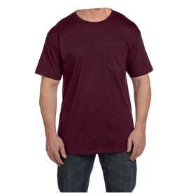 ビーフィー半袖Tシャツポケット付 6.1オンス タグ有 (マルーン)