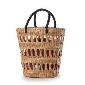 かごバッグ レディース トートバッグ 大人 巾着 天然素材 透かし マルシェバッグ Open Border Basket (ブラック)