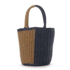 かごバッグ レディース トートバッグ 大人 浴衣 巾着 コンパクト ミニバッグ Half Crochet Bag (ネイビー)