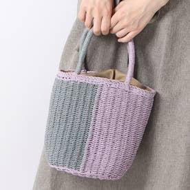 かごバッグ レディース トートバッグ 大人 浴衣 巾着 コンパクト ミニバッグ Half Crochet Bag (ラベンダー)