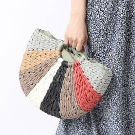 かごバッグ レディース トートバッグ 大人 浴衣 巾着 配色 カラフル Palette Basket Bag (ミントグリーン)