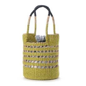 かごバッグ レディース トートバッグ 大人 巾着 天然素材 透かし Peep Basket (イエローグリーン)