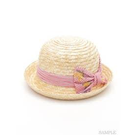 [ベビー]ストライプミモザ刺繍リボン付きハット (レッド)