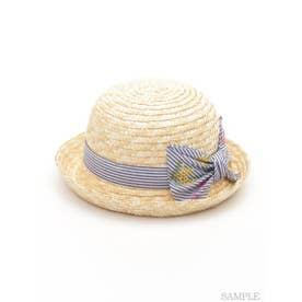 [ベビー]ストライプミモザ刺繍リボン付きハット (ネイビー)