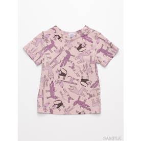 [ベビー]HAKKA45周年記念「スイミーデザインラボ」コラボ アニマル総柄プリント半袖Tシャツ (ピンク)