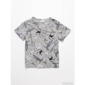 [ベビー]HAKKA45周年記念「スイミーデザインラボ」コラボ アニマル総柄プリント半袖Tシャツ (杢グレー)