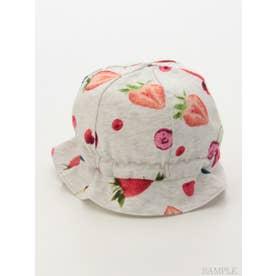 [ベビー]ベリーチェリープリント帽子 (ライトグレ-)