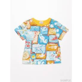 [ベビー・ユニセックス]シータイルプリント半袖Tシャツ (ブルー)