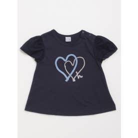 [ベビー]ハートモチーフ半袖Tシャツ (ネイビー)