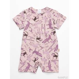 [ベビー]HAKKA45周年記念「スイミーデザインラボ」コラボ アニマル総柄プリント半袖カバーオール (ピンク)