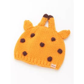 [ベビー]アニマルモチーフニット帽子(あったか) (イエロー)
