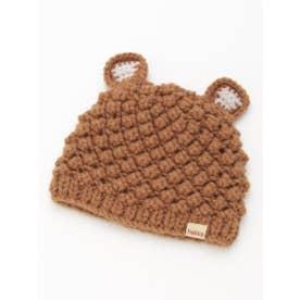 [ベビー]アニマルモチーフニット帽子(あったか) (ブラウン)