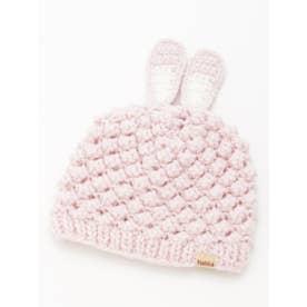 [ベビー]アニマルモチーフニット帽子(あったか) (ピンク)