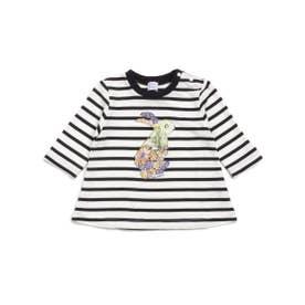 [ベビー]フラワーうさぎプリント7分袖Tシャツ (ブラック)