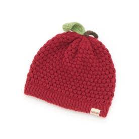 [ベビー]フルーツモチーフニット帽子(あったか) (レッド)