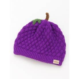 [ベビー]フルーツモチーフニット帽子(あったか) (パープル)
