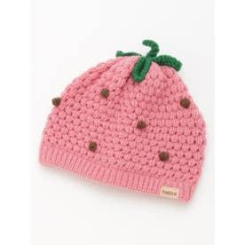 [ベビー]フルーツモチーフニット帽子(あったか) (ピンク)