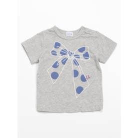 [ベビー・インセクトシールド]ビッグリボンプリント半袖Tシャツ (杢グレー)