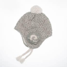 [ベビ-]花モチ-フ付きボアニット帽子(あったか) (グレ-)
