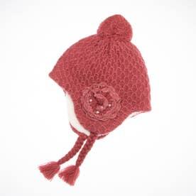 [ベビ-]花モチ-フ付きボアニット帽子(あったか) (ピンク)