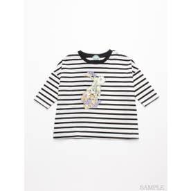 フラワーうさぎプリント7分袖Tシャツ (ブラック)