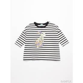 [ジュニアサイズ]フラワーうさぎプリント7分袖Tシャツ (ブラック)