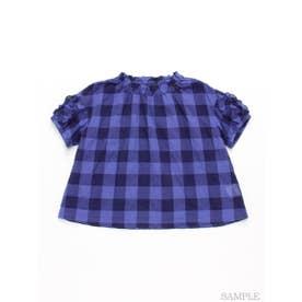[ジュニアサイズ]ビビットギンガムチェック半袖ブラウス (ブルー)