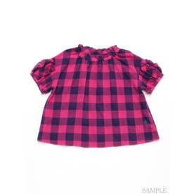 [ジュニアサイズ]ビビットギンガムチェック半袖ブラウス (ピンク)