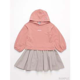 パーカードッキング長袖ワンピース (ピンク)