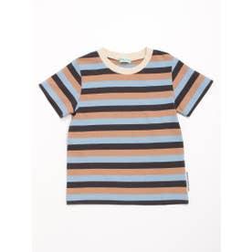 [ボーイズ]マルチボーダー半袖Tシャツ (サックス)