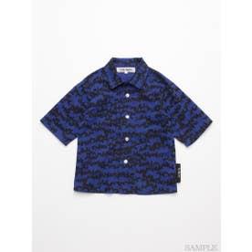 [ジュニアサイズ・h/BOY・ボーイズ]ドッグゼブラプリント6分袖シャツ (ブルー)