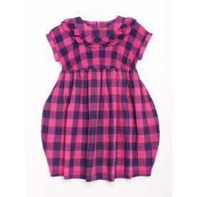 [ジュニアサイズ]ビビットギンガムチェック半袖ワンピース (ピンク)