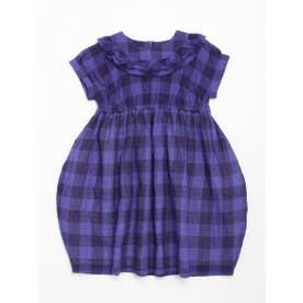 [ジュニアサイズ]ビビットギンガムチェック半袖ワンピース (ブルー)