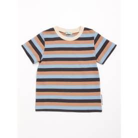 [ジュニアサイズ・ボーイズ]マルチボーダー半袖Tシャツ (サックス)
