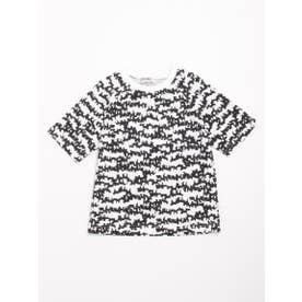 [ジュニアサイズ・h/BOY・ボーイズ]ドッグゼブラプリント5分袖Tシャツ (オフホワイト)