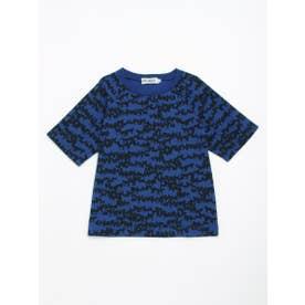 [ジュニアサイズ・h/BOY・ボーイズ]ドッグゼブラプリント5分袖Tシャツ (ブルー)
