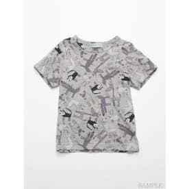 HAKKA45周年記念「スイミーデザインラボ」コラボ アニマル総柄プリント半袖Tシャツ (杢グレー)