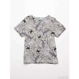 [ジュニアサイズ]HAKKA45周年記念「スイミーデザインラボ」コラボ アニマル総柄プリント半袖Tシャツ (杢グレー)