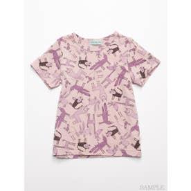 [ジュニアサイズ]HAKKA45周年記念「スイミーデザインラボ」コラボ アニマル総柄プリント半袖Tシャツ (ピンク)