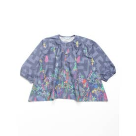 [ジュニアサイズ]カラーエンブロフラワープリントブラウス (グレー)