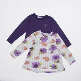 [ジュニアサイズ]ストライプアネモネプリント裏毛チュニックTシャツセット(セット商品) (パ-プル)