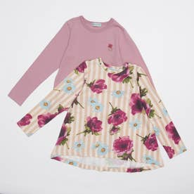 [ジュニアサイズ]ストライプアネモネプリント裏毛チュニックTシャツセット(セット商品) (ピンク)
