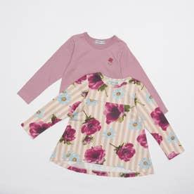 ストライプアネモネプリント裏毛チュニックTシャツセット(セット商品) (ピンク)