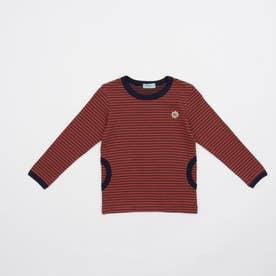[ジュニアサイズ・ボーイズ]ストレッチボーダー長袖Tシャツ (オレンジ)