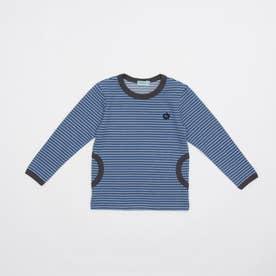 [ジュニアサイズ・ボーイズ]ストレッチボーダー長袖Tシャツ (ブルー)