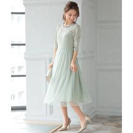 結婚式・二次会・セレモニーシーン対応 ワンピース・パーティー シフォンプリーツドレス (グリーン)320114